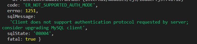 解决nodeJs连接mysql报错
